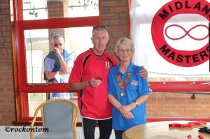 Mick Smedley M65 1st left. Marcia Smedley MMAC President