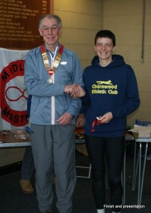 Our President, Adrian Lloyd, presents the W35 winners medal to Kate Ransey